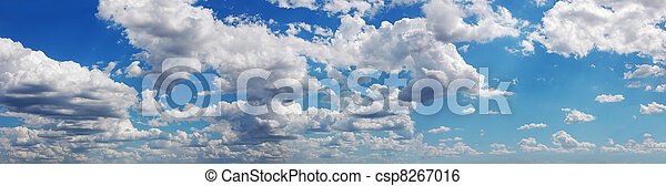 Blue sky with many cumulus fluffy w - csp8267016