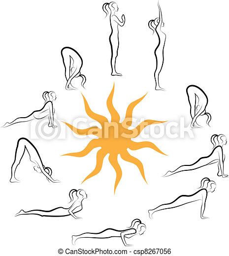 yoga sun salutation, vector - csp8267056