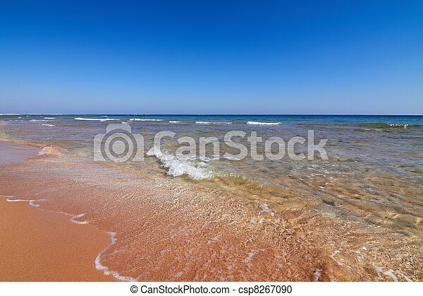 Seaview of coastline with tranquil water and blue sky - csp8267090