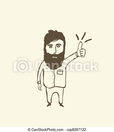 bearded  man showing thumb up - csp8267122