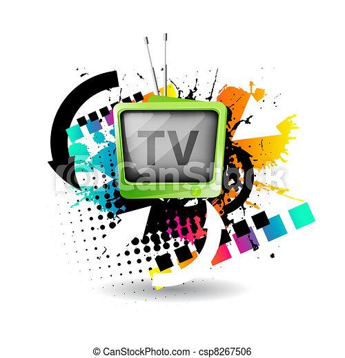 Cute retro tv vector - csp8267506