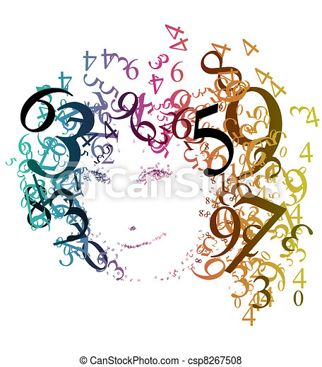 Abstract portrait of a woman with numbers - csp8267508