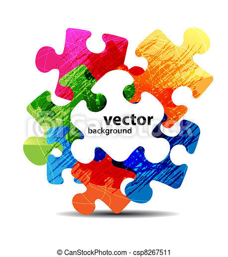 abstract puzzle shape colorful vector design - csp8267511