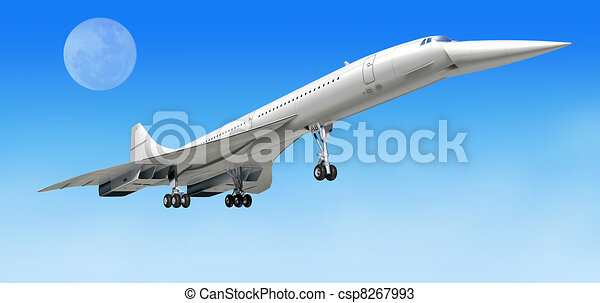 Concorde supersonic airliner aircraft, during take off, or landing. On clear blue sky and big moon as background.  included. - csp8267993