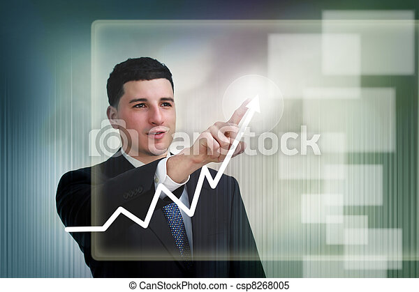 Businessman poiting to growth on a graph - csp8268005