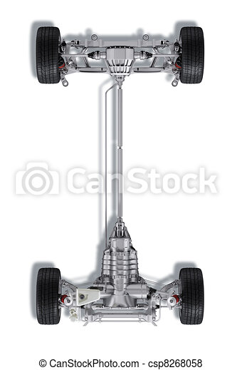 Under carriage technical 3 D rendering, of a generic sedan contemporary car. On white background, with . - csp8268058