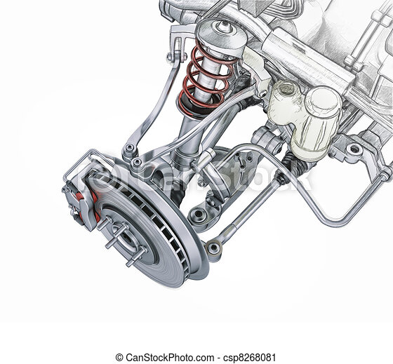 Multi link front car suspension, with brake. perspective view. Photorealistic 3 D rendering, with morphing effect to sketch hand drawing. - csp8268081