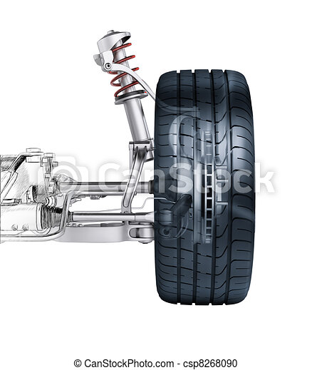 Multi link front car suspension, with brake. frontal view. Photorealistic 3 D rendering, with morphing effect to sketch hand drawing. - csp8268090