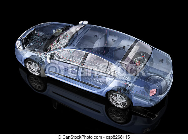 Generic sedan car detailed cutaway representation, with ghost effect, on black backgound. Side/Rear perspective view. Clipping path included. - csp8268115