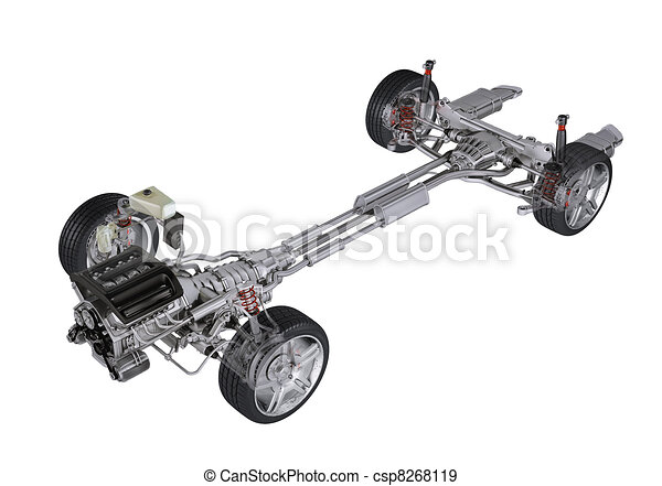 Under carriage technical 3 D rendering, of a generic sedan contemporary car. Perspective view On white background,. - csp8268119