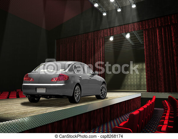 Sedan car on a fashion runway, in the spotlight. - csp8268174