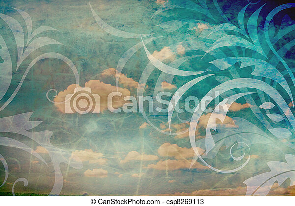 Vintage background with sky and florals - csp8269113