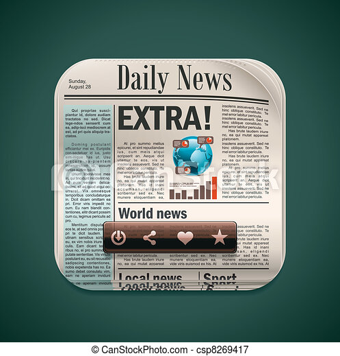 Vector square newspaper XXL icon - csp8269417