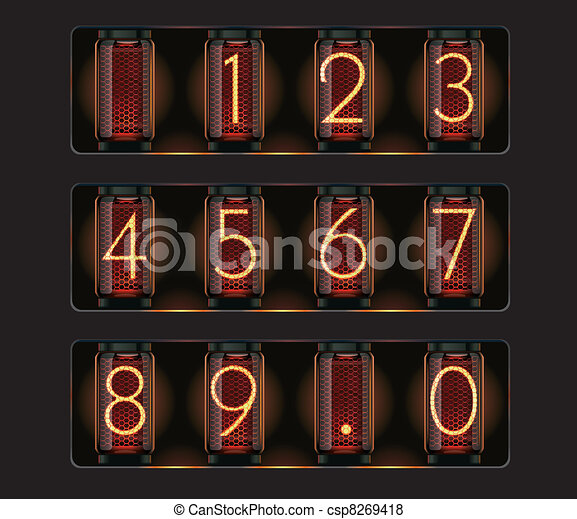 Vector nixie tube with digits - csp8269418