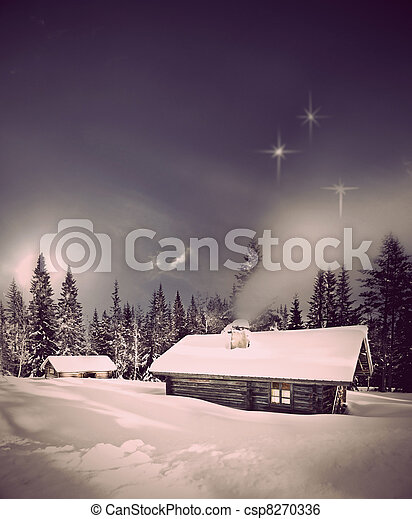 Log cabin in winter - csp8270336