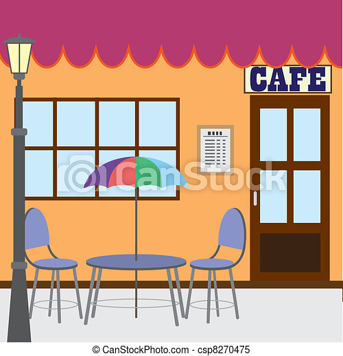 Clipart Vector of Outside cafe shop. - Table and chairs standing near ...