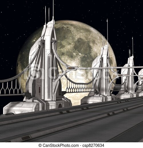 Sci-Fi Background with a bridge - csp8270634