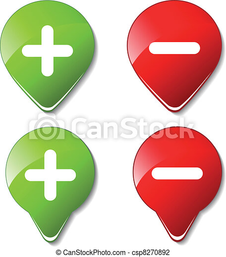Vector color buttons - plus, minus - csp8270892