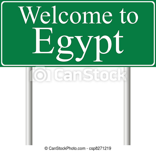 Welcome to Egypt, concept road sign - csp8271219