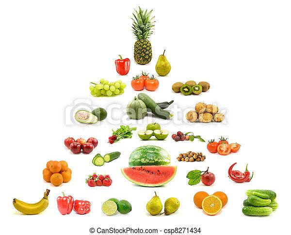piramide, de, frutas, e, legumes - csp8271434