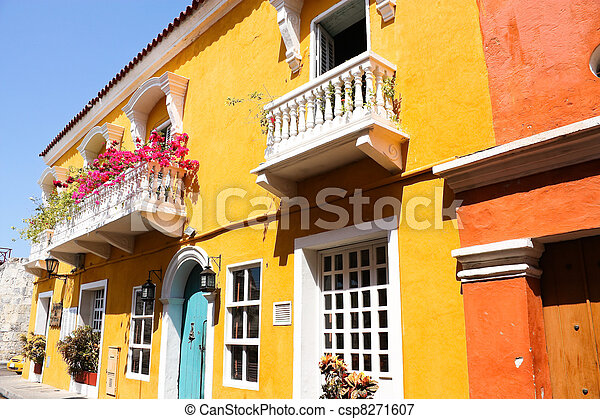 Spanish colonial house.  - csp8271607