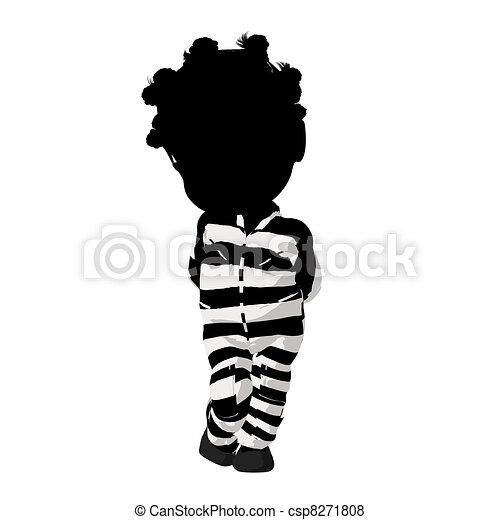 Little African American Criminal Girl Illustration - csp8271808