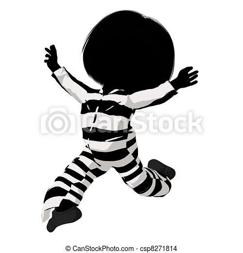 Little Criminal Girl Illustration - csp8271814