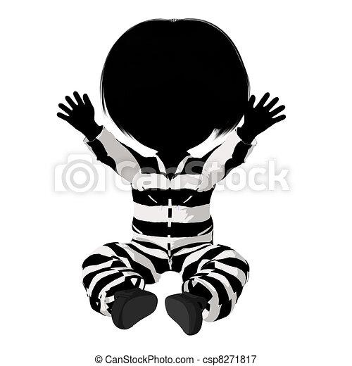 Little Criminal Girl Illustration - csp8271817