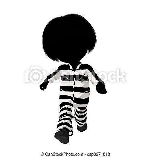 Little Criminal Girl Illustration - csp8271818