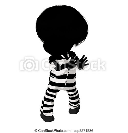 Little Criminal Girl Illustration - csp8271836