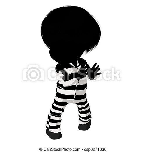 Little Criminal Girl Illustration - csp8271836