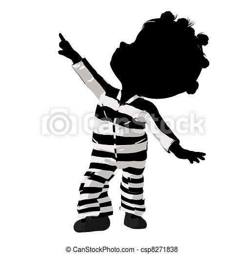 Little African American Criminal Girl Illustration - csp8271838