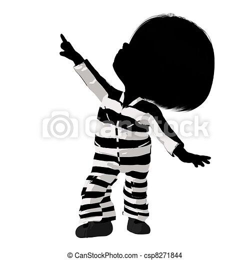 Little Criminal Girl Illustration - csp8271844