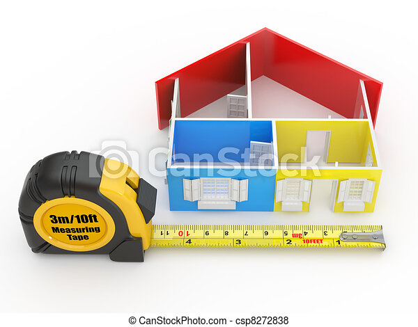 Measure tape and abstract three-dimensional  house - csp8272838
