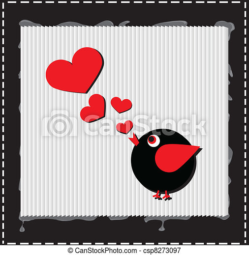 Bird is singing love song from hearts - csp8273097