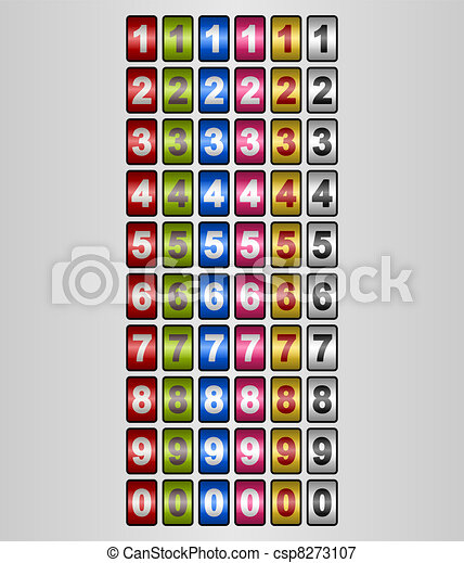 Rotating Numbers in various colors - csp8273107