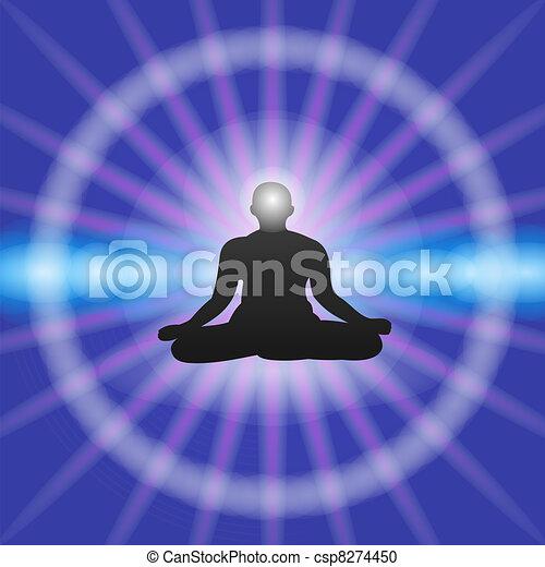 Meditation on Blue background - csp8274450