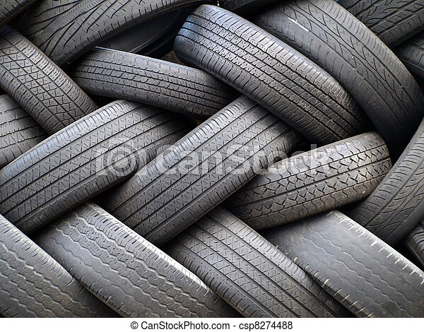 Old tires stacked  - csp8274488