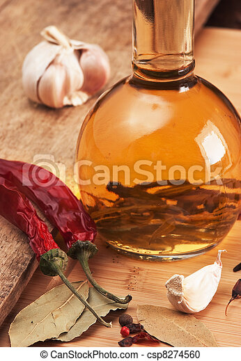 bottle with marinade and spices - csp8274560