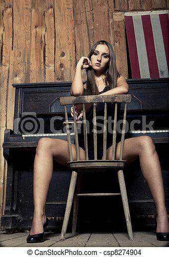 Sexy, niña, morena, Occidental, joven - csp8274904