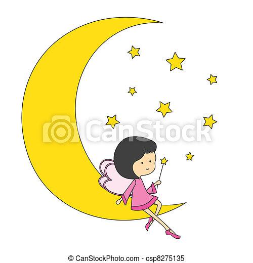 Fairy sitting on the moon - csp8275135