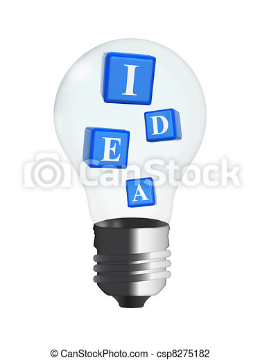 3d cubes - idea in bulb - csp8275182