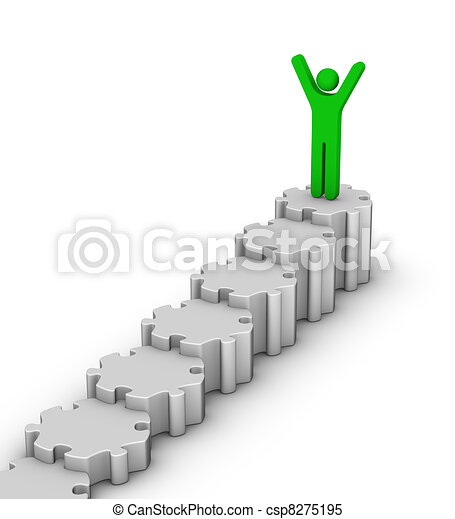 leader on top of staircase - csp8275195