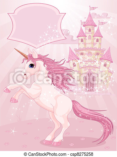 Fairy Tale Castle and Unicorn  - csp8275258