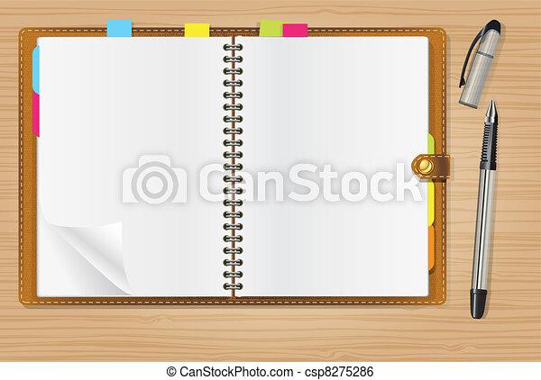 open diary and a pen - csp8275286