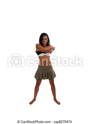 Skinny young black woman smiling taking off shirt - csp8275474