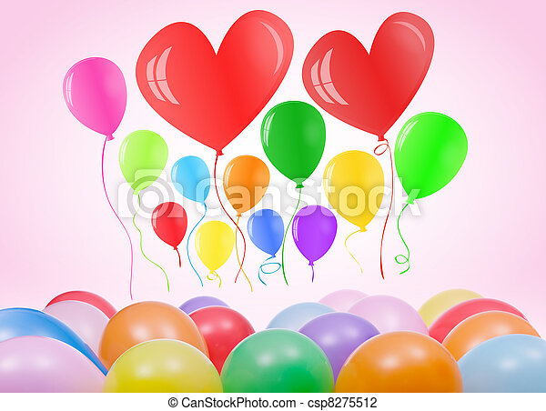 Valentines day or birthday card with balloons - csp8275512