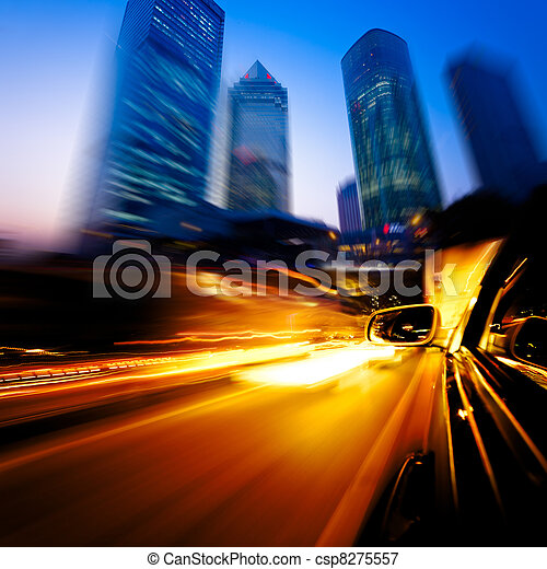 speeding car through city - csp8275557