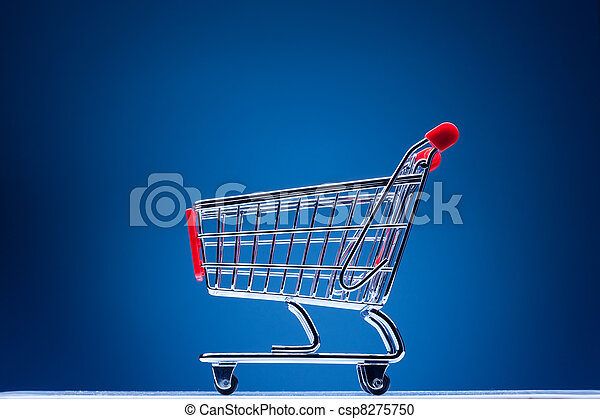 shopping cart on blue background - csp8275750