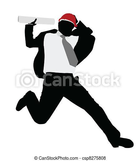 businessman with hardhat jump - csp8275808